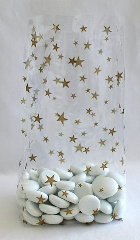 Gold Stars Cello Party Favor Treat Bags 3 1/2