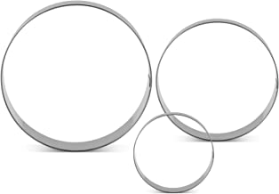 LILIAO Round/Circle Cookie Cutters - 3 Various Size - Large: 4 inches, Medium: 3.6 inches and Small: 3 inches - Stainless Steel