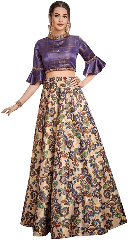 Designer Evening Cocktail wear Satin Silk Cold shoulder Crop top with Skirt Indian Women dress 7622