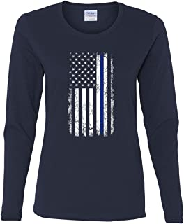 Thin Blue Line American Flag Women's Long Sleeve Tee Stars and Stripes Police