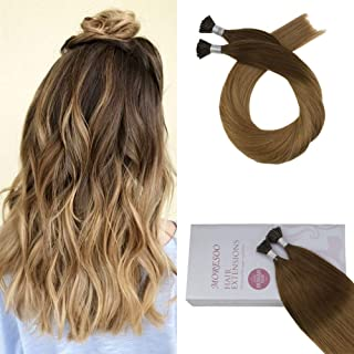 Moresoo 22 Inch I Tip Hair Extensions Human Hair Cold Fusion Ombre Hair Extensions #4 to #27 Caramel Blonde 0.8g/s Keratin Human Hair Extensions 50s 40g