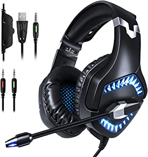 PC Gaming Headset for Xbox One And Laptop, 3.5Mm Noise-Cancelling Gaming Headset LED (With Microphone), Surround Sound Sys...