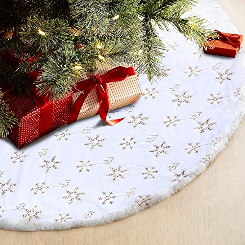 Christmas Tree Skirt - 48 Inches Large Snowy White Faux Fur Tree Skirt with Golden Snowy Pattern for Christmas Decorations Indoor Outdoor