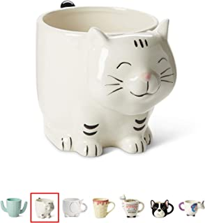 White Ceramic Coffee or Tea Mugs: Tri-Coastal Design Kitty Cat Coffee Mug with Hand Printed Designs and Printed Saying - 18.6 Fluid Ounce Large, Cute Handmade Cup -
