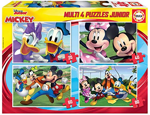 Educa Borrás-Multi 4 Puzzles Junior de 20, 40, 60 y 80 piez