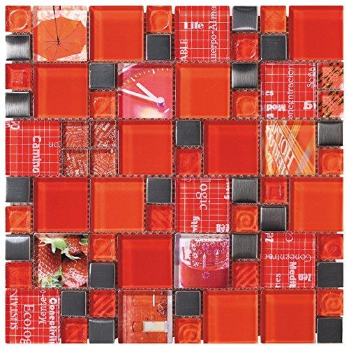 Mosaico de Vidrio en Malla DEC-47082AUU017, Rojo, 8 mm, 30 x 30 cm