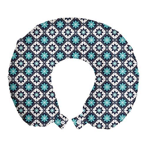 ABAKUHAUS Boho Reiskussen, Folkloristische Marokko Tile Inspire, Reisaccessoire met Geheugenschuim voor Vliegtuig en Auto, 30 cm x 30 cm, Seafoam Dark Blue
