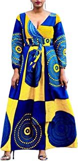 African Print V Neck High Waist Color Block Evening Dress Wrap Maxi Dress