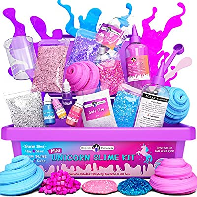 Original Stationery: Mini Unicorn Slime Kit for Girls - All in One Box! - Kids Can Make Unicorn Sparkle, Clay, Foam, Jelly Cube Slime by Original Stationery