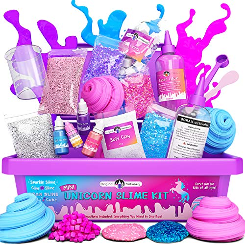 Original Stationery Mini Unicorn Slime Kit for Girls - All in One Box! - Kids Can Make Unicorn Sparkle, Clay, Foam, Jelly Cube Slime