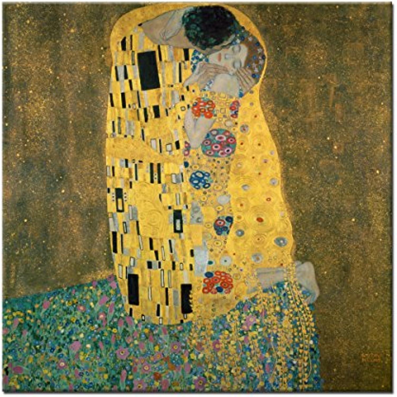 Wandkings Leinwandbild  Der Kuss  von Gustav Klimt   115 x 115 cm   auf Keilrahmen