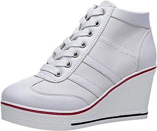 rismart Femme Toile Compensé Baskets Mode Plateforme High Top Chaussures