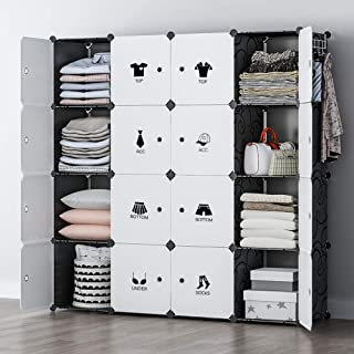YOZO Modular Wardrobe Portable Clothes Closet Chest Drawer Polyresin Storage Organizer Bedroom Armoire Cubby Shelving Unit Dresser Multifunction Cabinet DIY Furniture, Black, 16 Cubes