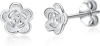 Sterling Silver Stud Earrings Lotus Flower, Olive Leaf, Rose Flower Stud Earrings for Women Small Hypoallergenic Earrings for Sensitive Ears