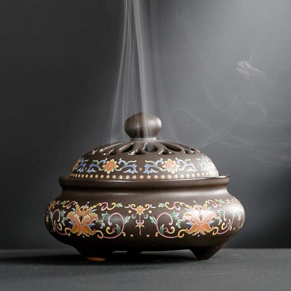 吸うエアコン広範囲にYONIK 香炉 渦巻き線香ホルダー 蚊取り線香ホルダー 線香入れ 磁器 香皿 蓋付き 香立て付き 和風