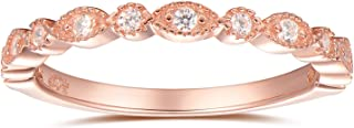 espere Milgrain Marquise & Round Cubic Zirconia Eternity Ring Stacking Infinity Wedding Band Sterling Silver Platium Plated or Rose Gold Plated Size 3.5-9.5