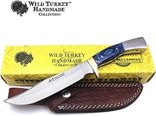 Wild Turkey Handmade Real Bone Handle Full Tang Fixed Blade Hunting Knife w/Leather Sheath Hunting Camping Fishing Outdoors Sharp Blade