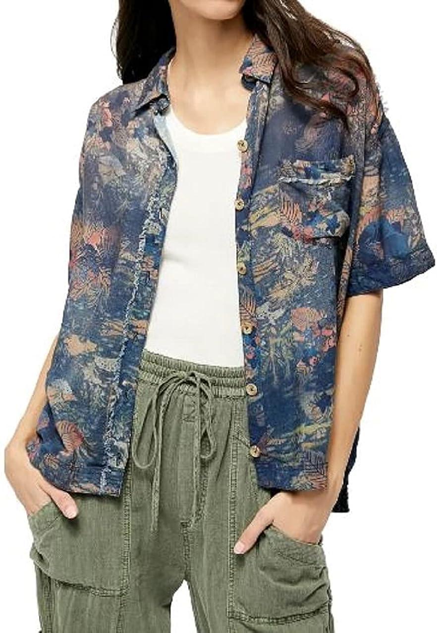 Free People Share Good Vibes Print Shirt Navy Combo XS