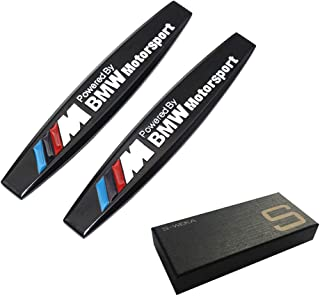 S-WEKA 2pcs Metal ///M Emblem Badge Sticker Motorsport Power for BMW X3 X5 E90 E53 Series metal 3D stereo labeling(2Pcs Black)