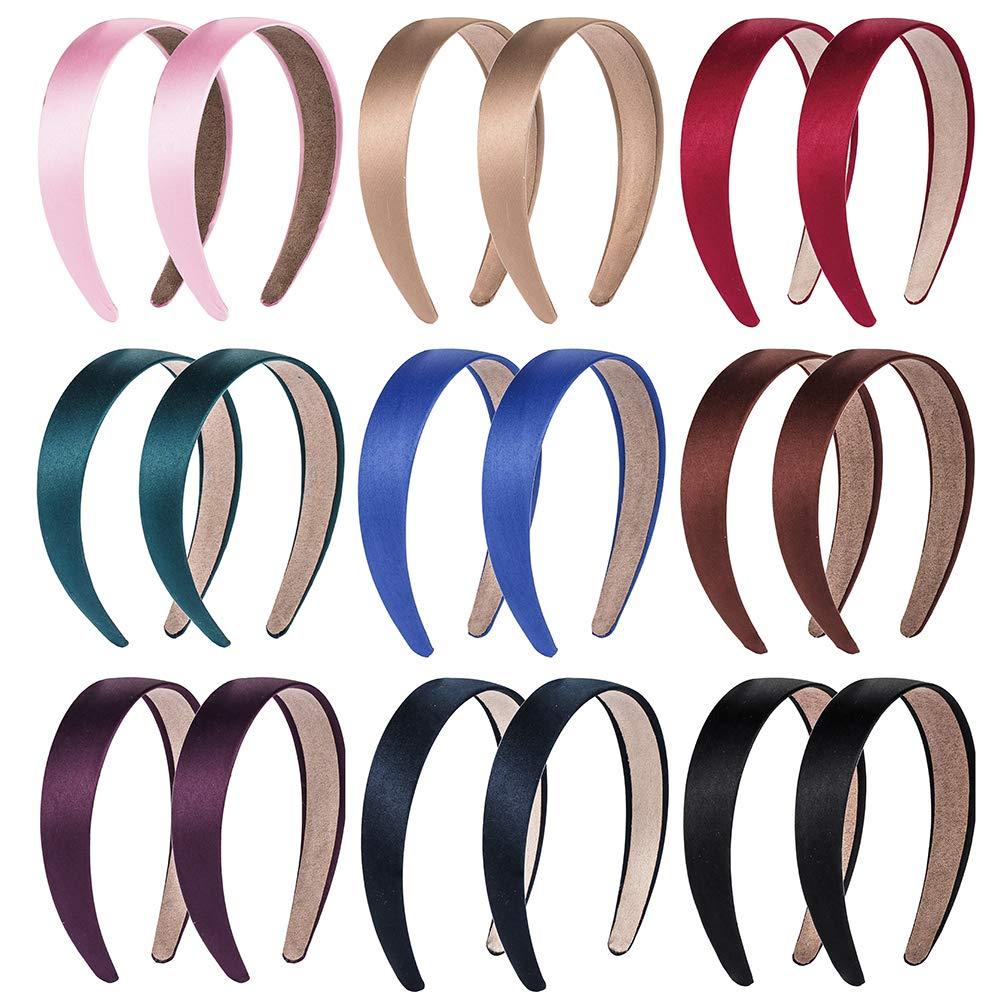 18 PCS Satin Headbands 1 Inch Wide Anti-slip Ribbon Hair Bands for Girls Women (9 Colors)