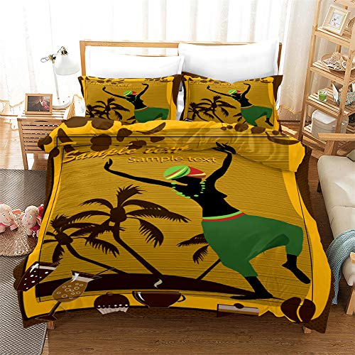 African Ethnic Style Dance Girl 3D Printed Bedding Set,Festival Celebrate Dancing Duvet Cover Set,Boho Ethinc Style Bedding Set Vintage Style Retro Gift Khaki Bohemian (Africa 10, King)