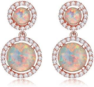 Womens Jewelry Gifts Rhodium Plated Green Fire Opal Emerald Women Jewelry Gemstone Stud Earrings 1 1/8