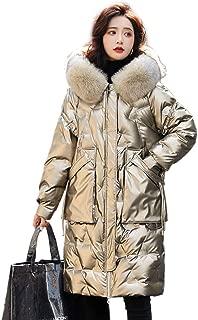 Women's Ultra Lightweight Puffer Coat Winter Faux Fur Hood Down Coat Lady Thicken Puffer Slim Zipper Jacket Parka, Autumn Casual Daily Coats,Gold,L