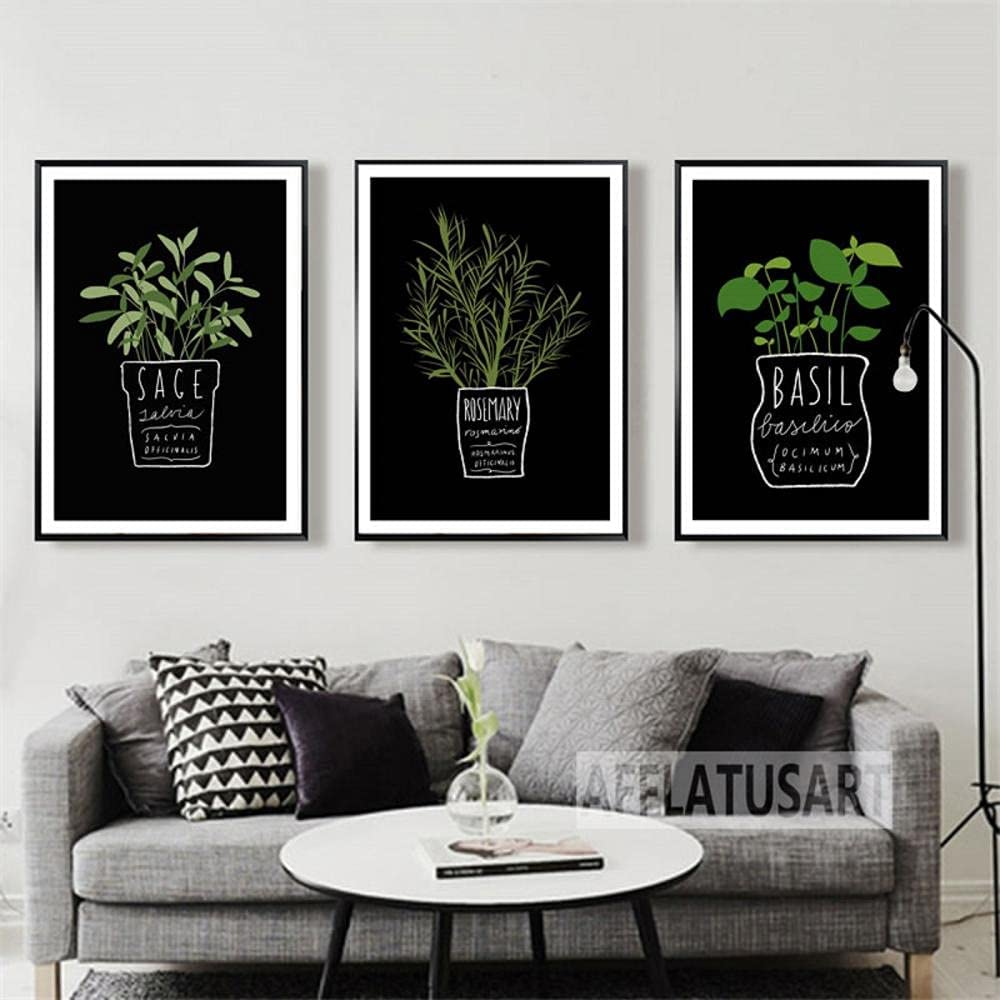 Canvas pictures Green Rapid rise Rosemary Sage Plants Basil Wall Art Manufacturer direct delivery