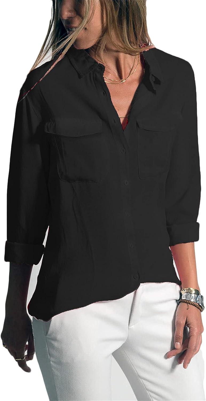 Andongnywell Women's Long Sleeve Casual Lapel Blouses Pocket Button Down Shirt Tops Pockets Shirt Blouse