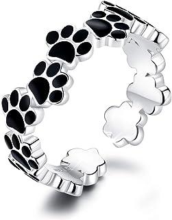 DOYIS Anillos Mujeres Abiertos de Plata esterlina Paw Puppy Dog Anillo de Compromiso Ajustable Anillo de Boda Band Toe Rin...
