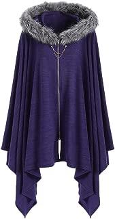 DEZZAL Women's Faux Fur Insert Zip up Asymmetrical Hooded Cape Coat 5XL Purple