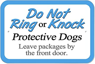 Graphics and More Plastic Sign Do Not Ring or Knock Protective Dogs Leave Packages by Front Door - 6