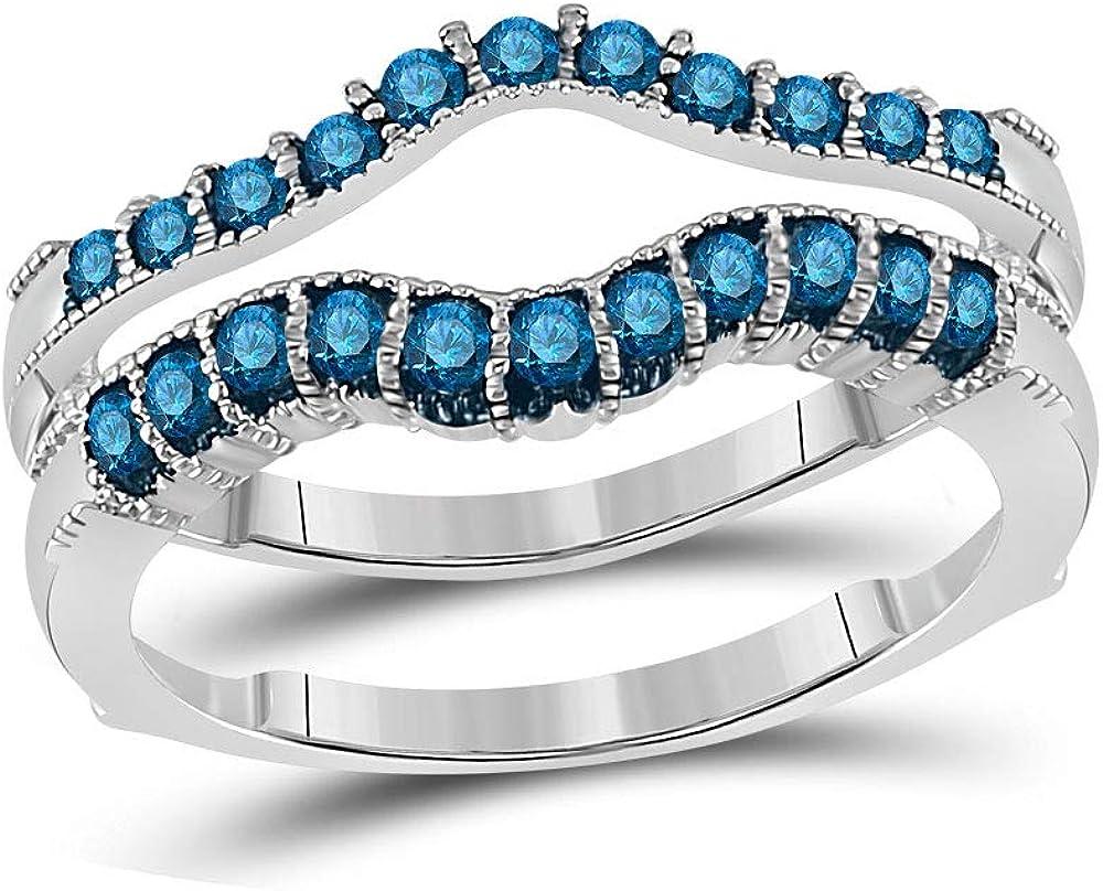 14kt White Gold Womens Round Blue Color Enhanced Diamond Wrap Enhancer Wedding Band 1/3 Cttw
