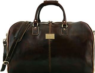 Tuscany Leather Antigua - Travel leather duffle/Garment bag - TL141538 (Dark Brown)