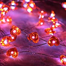 ER CHEN Newest 40 LED Hearts,10Ft Long Indoor&Outdoor Waterproof Battery Operated Silver Wire String Lights with Remote&Timer