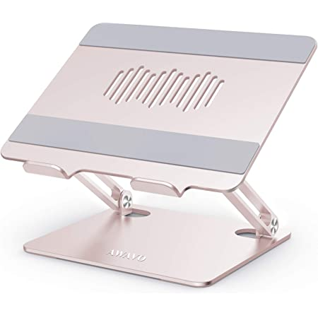"""AWAVO Laptop Stand, Ergonomic Aluminum Computer Stand for Desk, Adjustable Laptop Riser with Heat-Vent, Multi-Angle Lapdesks Compatible with MacBook Air/Pro, Dell, HP, Lenovo, More 10-15.6"""" Laptops"""
