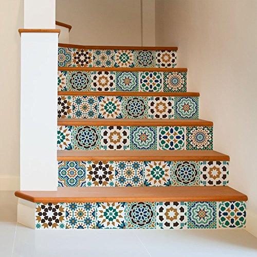 24 piezas Azulejo adhesivo 20x20 cm PS00098 Mosaico de Azulejos Adhesivo de pared Adhesivo decorativo para azulejos de cemento para baño y cocina Adhesivos de cemento pelar y pegar