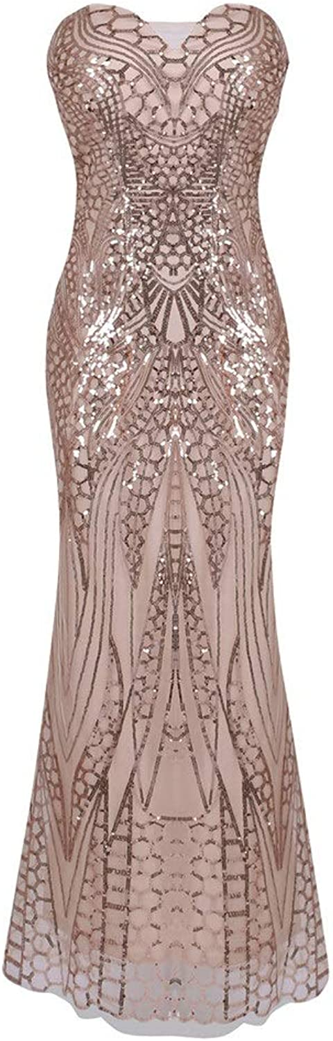 Evening Dress Women Formal Dresses Prom Party Ball Gown Sleeveless Backless Sequin Long Dress (color   Pink, Size   L)