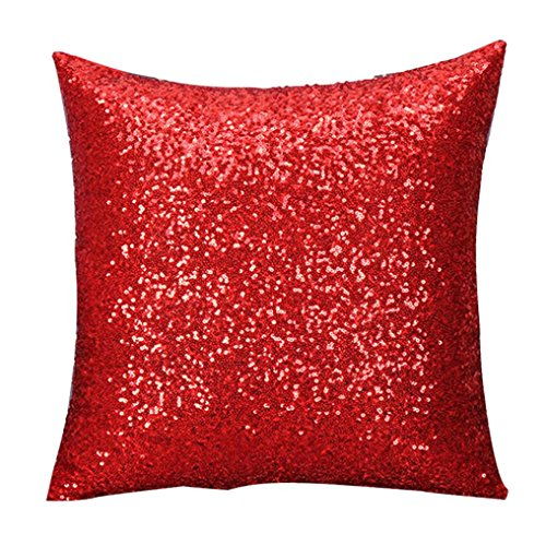 Internet Paillettes Sequins canapé lit Home Café Decor taie d'Oreiller Carré Housse de Coussin Invisible Fermeture à glissière (40cm*40cm, Rouge)