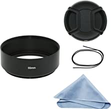 SIOTI Camera Standard Focus Metal Lens Hood with Cleaning Cloth and Lens Cap Compatible with Leica/Fuji/Nikon/Canon/Samsung Standard Thread Lens
