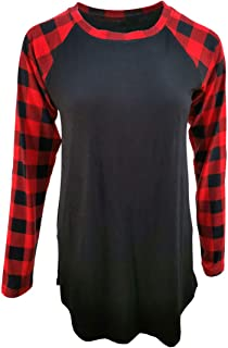 Buffalo Plaid Shirt Womens Plus Size Long Sleeve Elbow Patch Tunic Tops