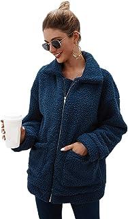 YYW جاكيتات للنساء، كاجوال صوف فازي فو فرو دافئ الشتاء المتضخم ملابس خارجية معطف أشعث