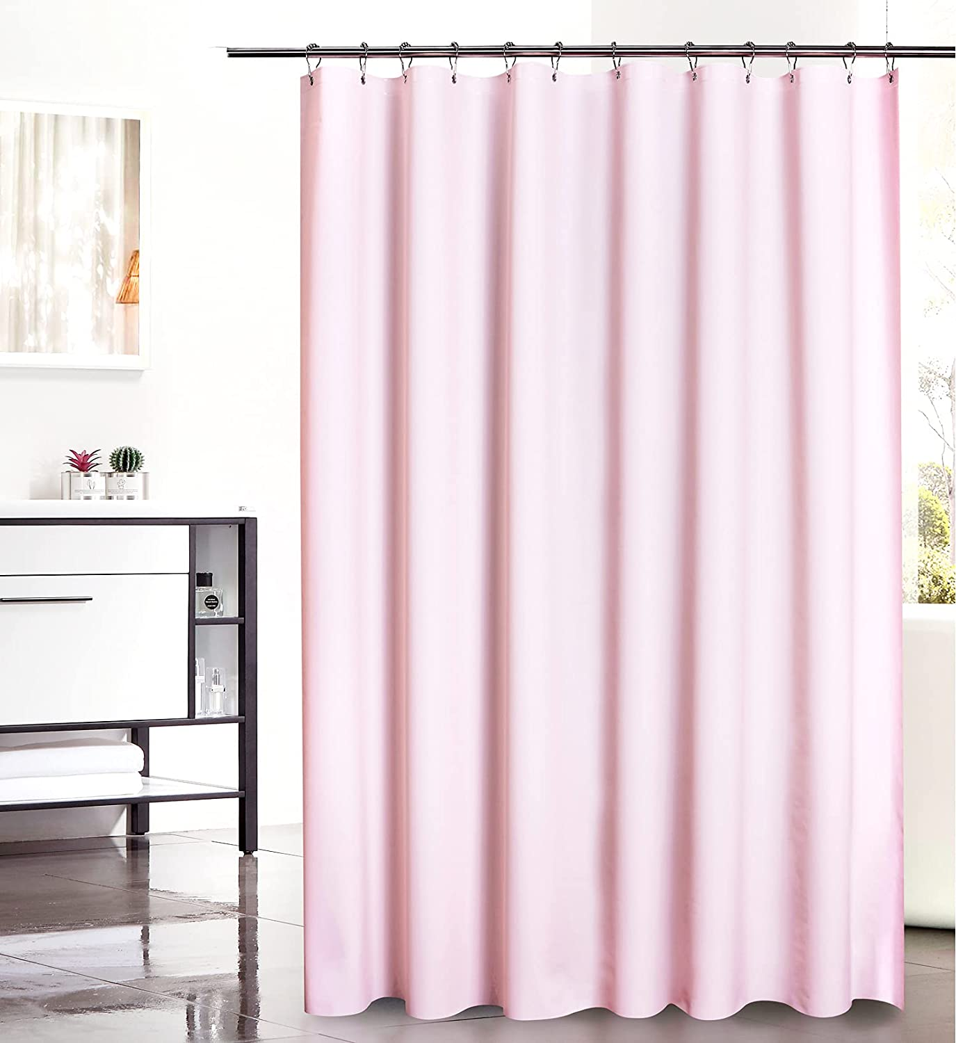 Amazon Brand - Umi Shower Curtains, Waterproof, Mould and Mildew Resistant, Shower Curtain Liners, Bath Curtains - Hexagon Pink, 180x180cm Hexagon Pink 180x180 cm