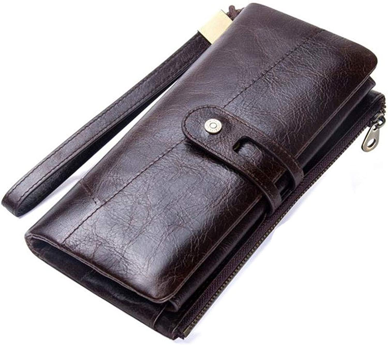Casual Women's Clutch Bag Leather with Wrist Strap Leather Wallet (color   Dark Brown)