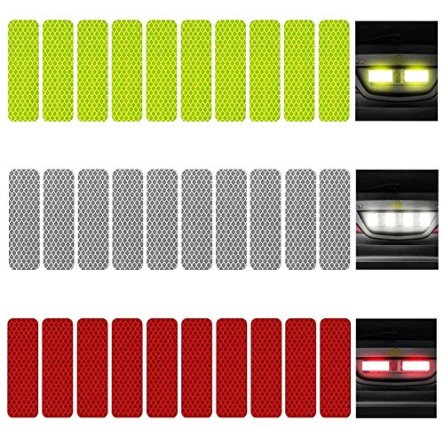 KOOU 30pcs Reflective Sticker Safety Warning Tapes Diamond Grade Waterproofs High Intensity Night Visibility Adhesive Decals for Helmet Motorbike Multi-Color 1.18in x 3.25in (3cm x 8cm)