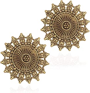 IndoTribe Boho Earrings for Women Gold Earrings Black Metal Earrings Indian Style Bollywood Earrings Indian Earrings for Women Post Ethnic Earrings for Women Tribal Bohemian Gypsy Statement Stud
