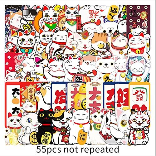 PMSMT 55 Lucky Cat Graffiti monopatín Impermeable Maleta de Viaje teléfono portátil Equipaje Pegatinas Lindos Juguetes para niñas y niños