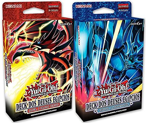 2 Decks Yu-Gi-Oh! Dos Deuses Egípcios Obelisco O Atormentador e Slifer O Dragão Celeste YuGiOh Cards Cartas Konami Português Original