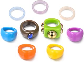 AllenCOCO 9 PCS Resin Rings Chunky Colorful Dome Ring Fashion Accessories Acrylic Ring for Women Girls
