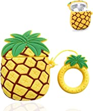 Bqmte Pineapple Silicone Case Compatible for Airpods 1&2, Cute 3D Funny Character Soft Kawaii Fun Cool Keychain Cover Skin for AirPods Wireless Charging (Pineapple)
